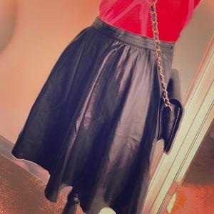 ZARA Woman Black PU Leather Skater Pleated Skirt